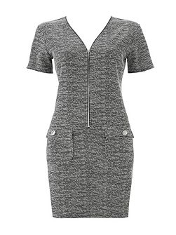 Monochrome Jacquard Zip Dress