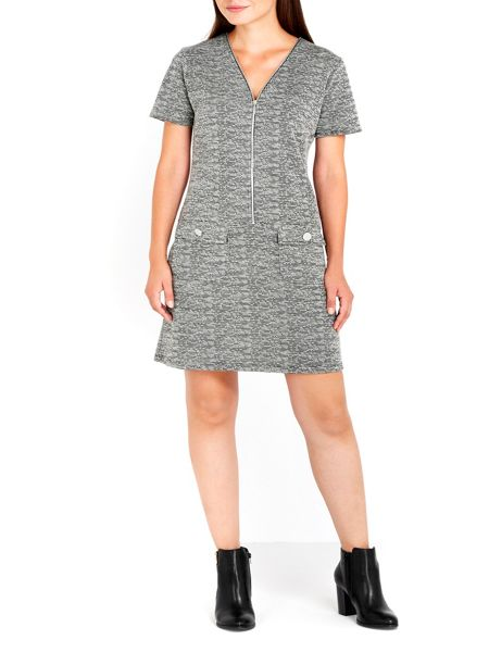 Wallis Monochrome Jacquard Zip Dress