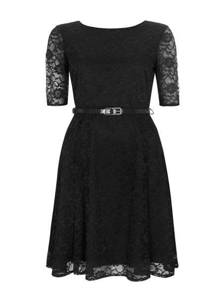 Wallis Black Floral Lace Fit and Flar