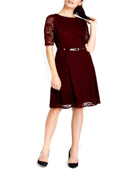 Wallis Red Floral Lace Fit and Flare