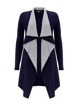 Navy Double Faced Cardigan