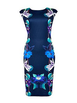 Navy Floral Mirror Shift Dress