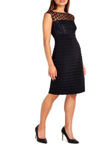 Wallis Black Spot Mesh Shutter Dress