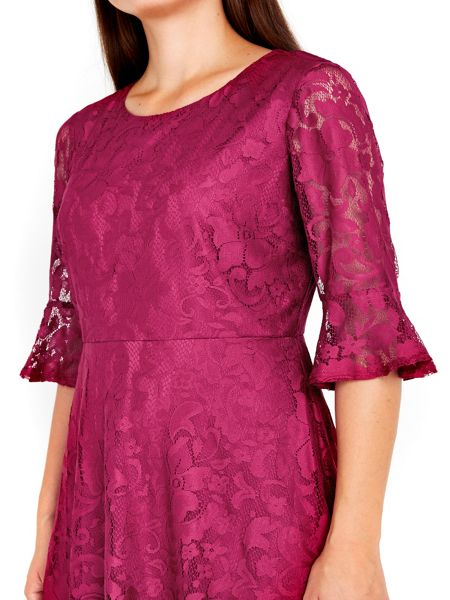 Wallis Plum Floral Lace Fit And Flare