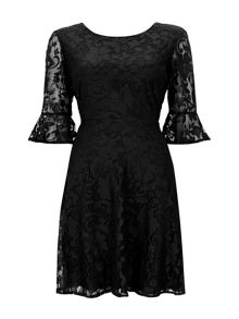 Wallis Black Floral Lace Fit And Flare