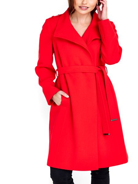 Wallis Red Wrap Belted Coat