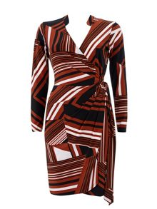Wallis Geo Stripe Wrap Dress