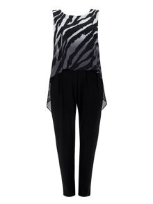 Wallis Black Zebra Overlay Jumpsuit
