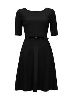 Belted Fit and Flare Dress