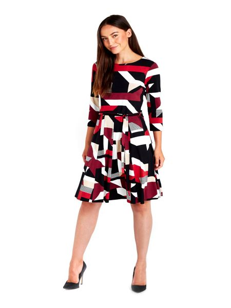Wallis Geo Print Fit And Flare Dress