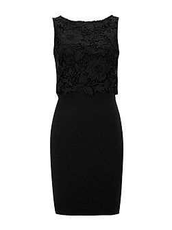 Petite Black Crochet Top Dress