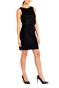 Wallis Petite Black Crochet Top Dress