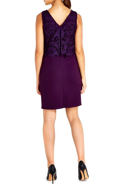 Wallis Petite Purple Crochet Dress