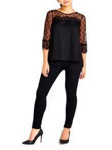 Wallis Petite Black Spot Lace Top
