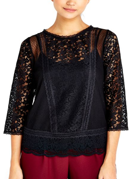 Wallis Petite Black Lace Top