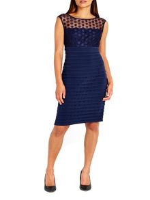 Wallis Navy Spot Mesh Shutter Dress