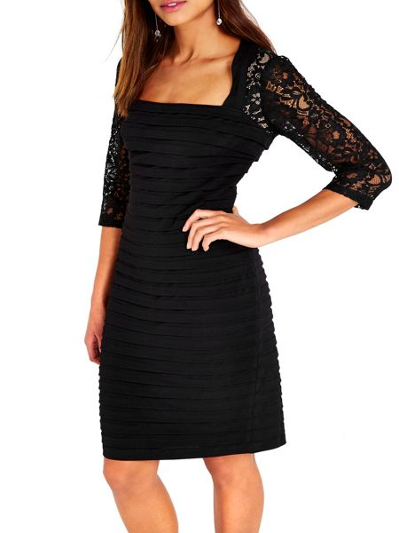 Wallis Black Lace Sleeve Shutter Dres