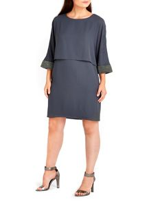Wallis Grey Embellished Cuff Dress