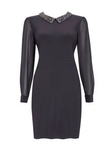 Wallis Petite Grey Embellished Dress