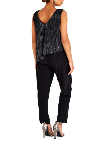 Wallis Black Plisse Overlayer Jumpsuit