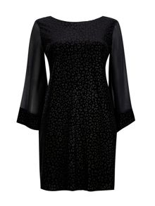 Wallis Animal Devore Sleeve Dress
