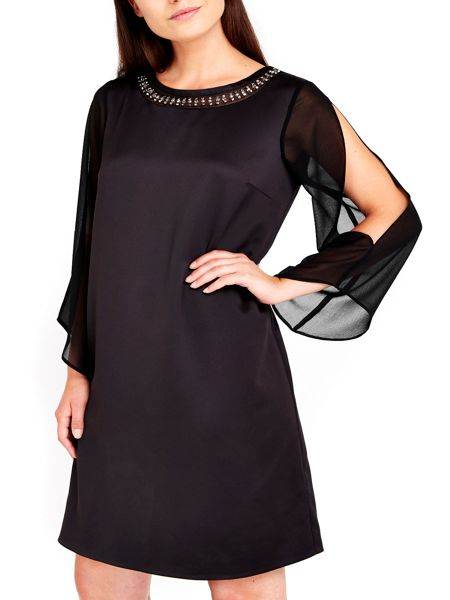 Wallis Black Embellished Split Sleeve Dress