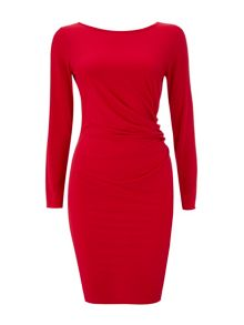 Wallis Red Ruche Side Dress