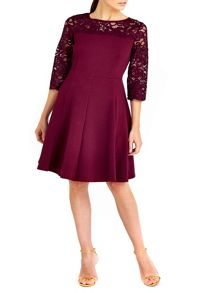 Wallis Berry Lace Yoke Fit and Flare Dress