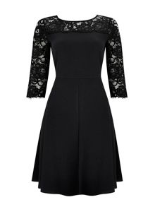 Wallis Black Lace Yoke Fit and Flare Dress