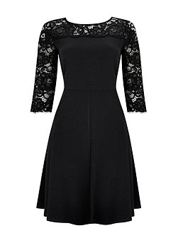 Black Lace Yoke Fit and Flare Dress
