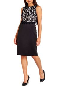 Wallis Black Lace Top Scuba Shift Dress