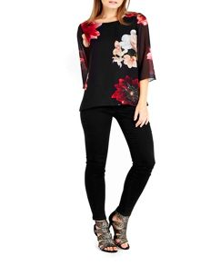 Wallis Petite Red Floral Top
