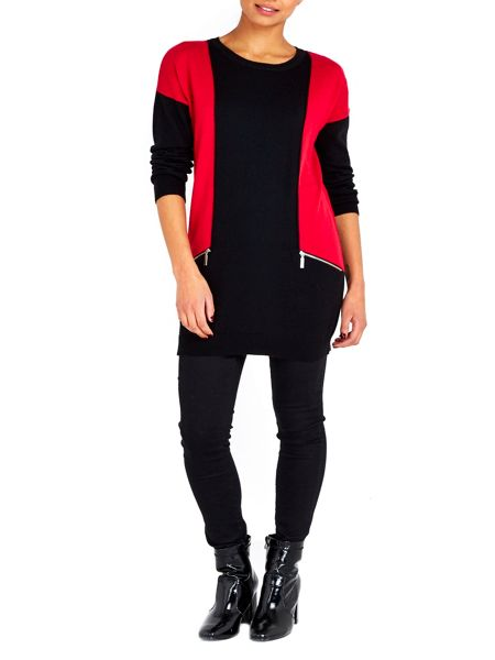 Wallis Red Colour Panelled Zip Tunic