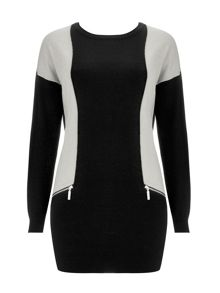 Wallis Black Colour Panelled Tunic