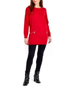Wallis Red Zip Tunic
