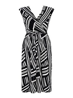 Black and White Geo Plisse Dress