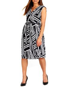 Wallis Black and White Geo Plisse Dress