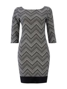 Wallis Mono Chevron Block Shift Dress