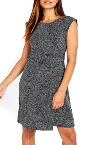 Wallis Silver Sparkle Ruche Dress