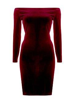 Velvet Bardot Dress