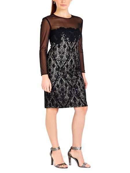 Wallis Black Mesh Sleeve Lace Dress
