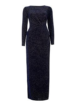 Navy Sparkle Long Sleeve Dress