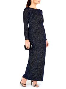 Wallis Navy Sparkle Long Sleeve Dress