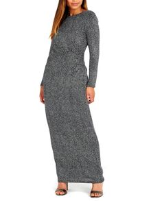 Wallis Silver Sparkle Long Sleeve Dress