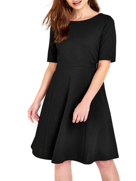 Wallis Black Ponte Fit and Flare Dress