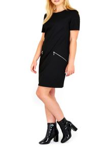 Wallis Black Ponte Zip Dress