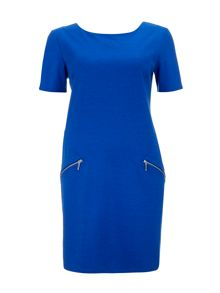 Wallis Blue Ponte Zip Dress