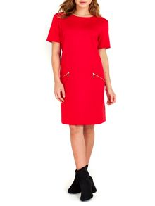 Wallis Red Ponte Zip Dress