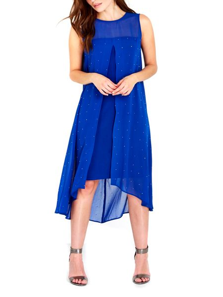 Wallis Blue Embellished Overlayer Dress