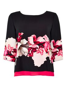 Wallis Petite Black Floral Double Top